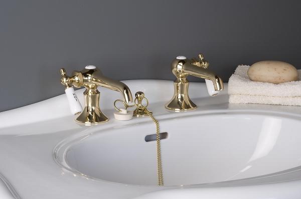 Antique Reproduction Lavatory Faucet Set Porcelain Side Levers