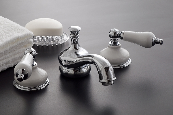 Sacramento Widespread Lavatory Faucet With Porcelain Escutcheons And Lever Handles