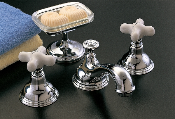St Lawrence Widespread Lavatory Faucet Porcelain Handles