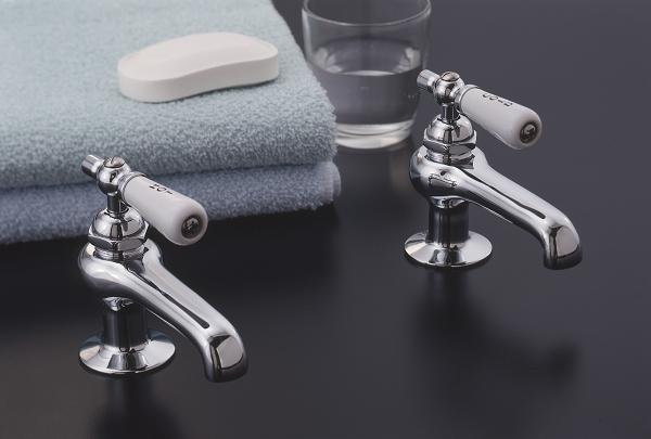 Antique Reproduction Lavatory Faucet Singles Set Porcelain Levers