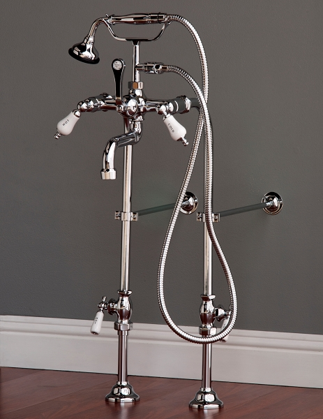 Traditional Telephone Faucet w/ Supply Set and Metal Handheld Shower